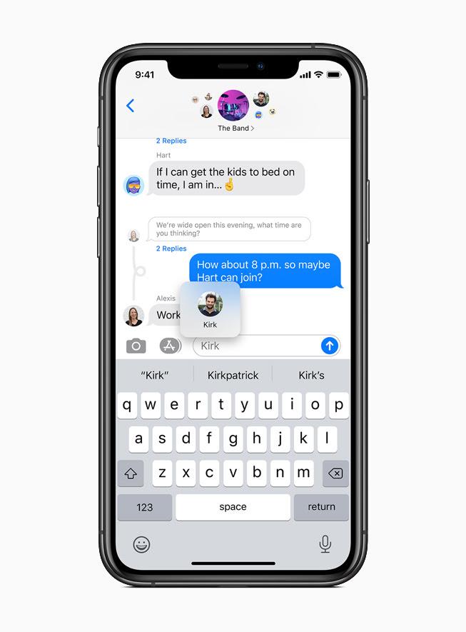 iPhone 11 Pro 上顯示「訊息」中的一則直接回覆。