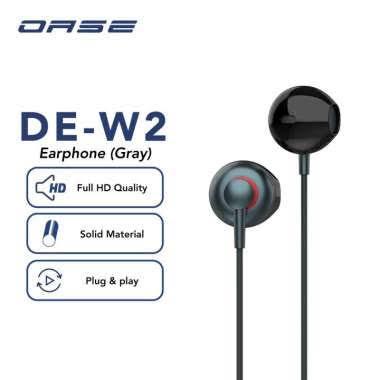 OASE Wired Earphone Headset Half In Ear Headphone HD Audio Cable 120cm Garansi Resmi 6 Bulan DE-W2