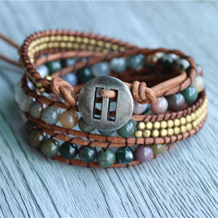 """Bracelet Wrap """"Energie Lumineuse"""" en Agate Indienne"""
