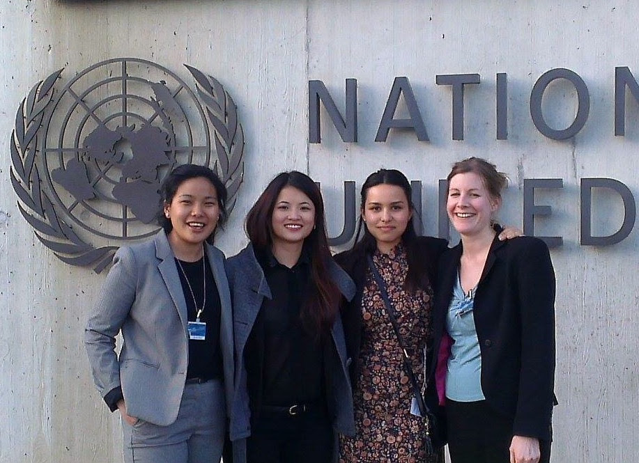In front of the UN headquarters in Geneva