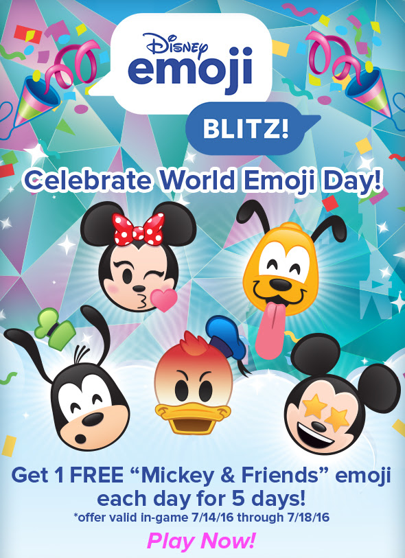 Get 1 FREE Mickey & Friends emoji each day for 5 days! *offer valid in-game 7/14/16 through 7/18/16 Play Now!