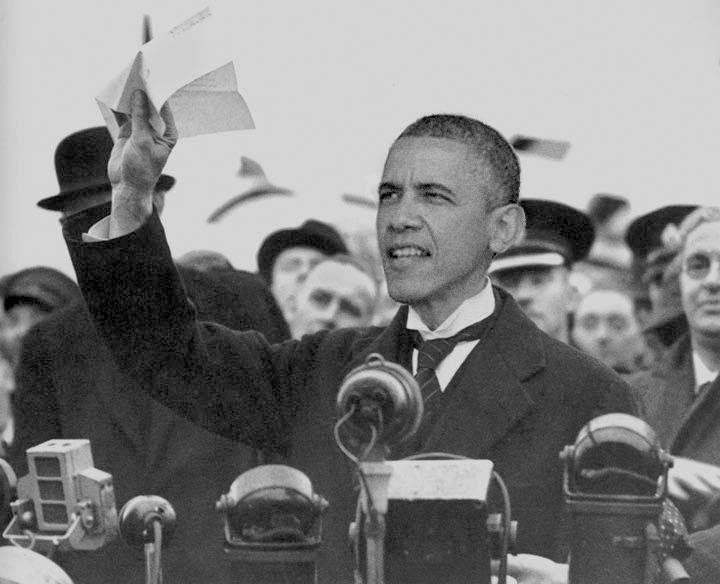 איראן בכל מחיר; ברק אובמה כצ'מברליין. עיבוד: אסתר ברנד