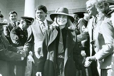 Hillary Clinton with Bill Clinton at his inauguration as governor of Arkansas in 1983.