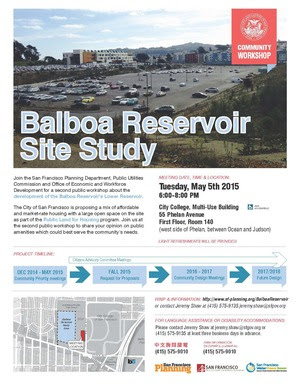 Balboa Reservoir Public Workshop Flyer