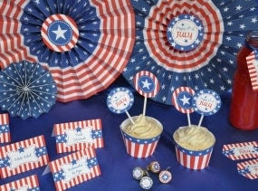 4th of July Patriotic Party celebration pdf printable DIY decoration kit - INSTANT DOWNLOAD