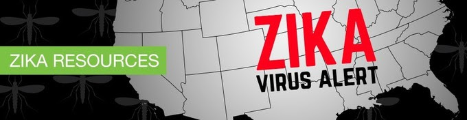 zika resources. map of us in black and white with image of mosquito. zika alert.
