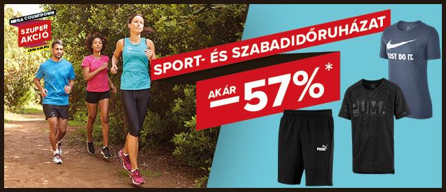 Webshop akciók - Sport- és szabadidőruházat akár -57%!