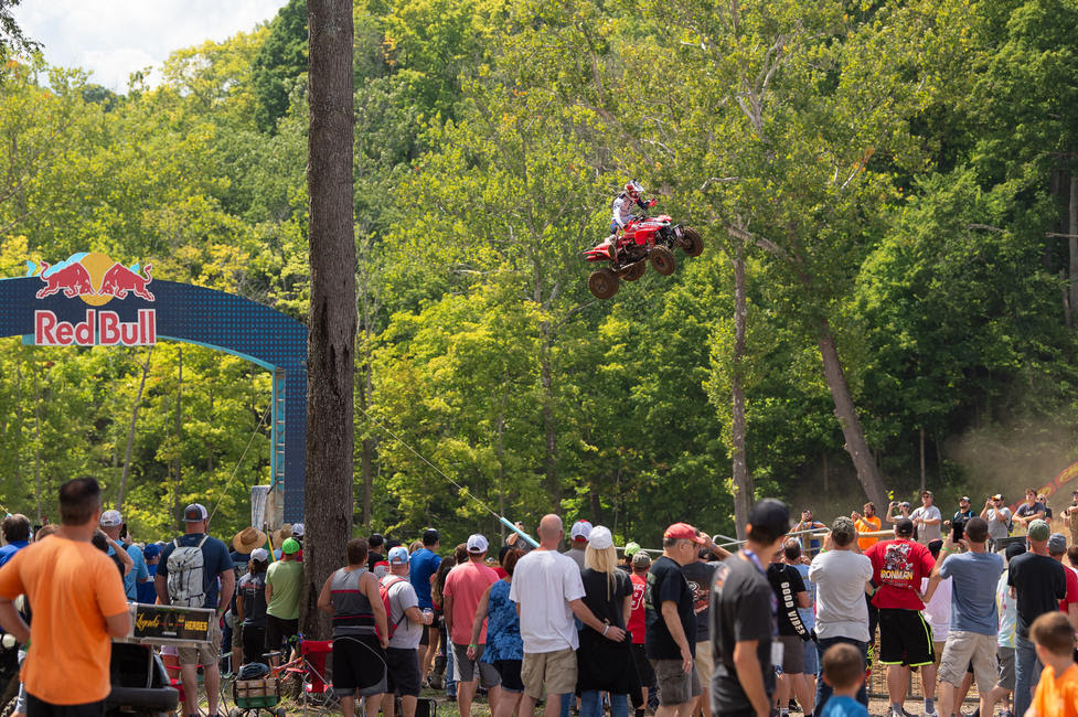 Hetrick launches over the Godzilla jump at Ironman Raceway.