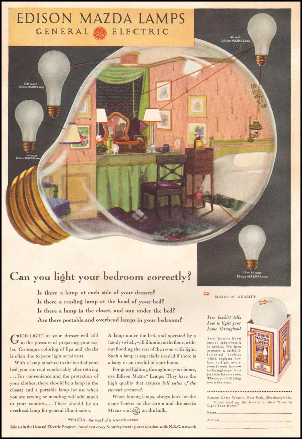 EDISON MAZDA LAMPS BETTER HOMES AND GARDENS 04/01/1931 INSIDE FRONT