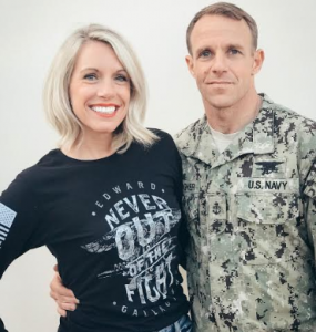 Eddie Gallagher and his wife, sporting the no-profit fundraiser design