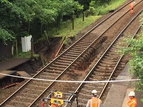 Emergency work underway to repair the railway between Buxton and Manchester