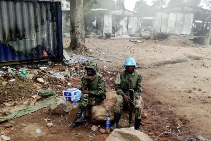 United Nation peacekeepers are seen at the UN civil base in Beni in the eastern part of the Democratic Republic of Congo on November 26 2019, the day after angry demonstrators ransacked and looted the UN civil base in Beni.