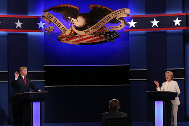 Hillary Clinton and Donald Trump participate in the third presidential debate at the University of Nevada, Las Vegas.