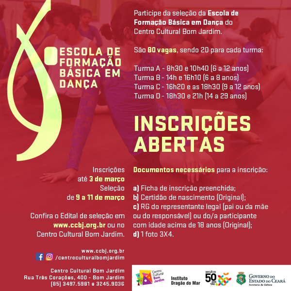 Flyer Inscricoes ESCOLA DE DANCA