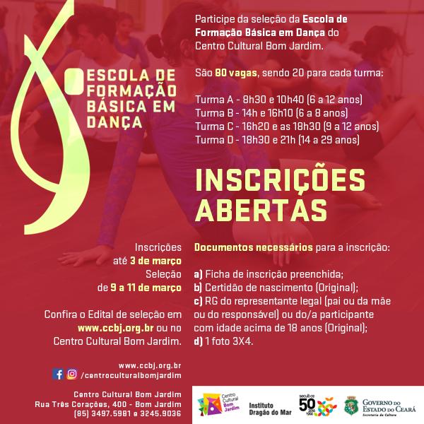 Flyer Inscricoes ESCOLA DE DANCA