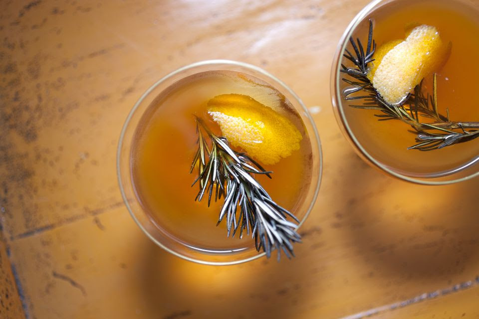 whiskey cocktail with rosemary