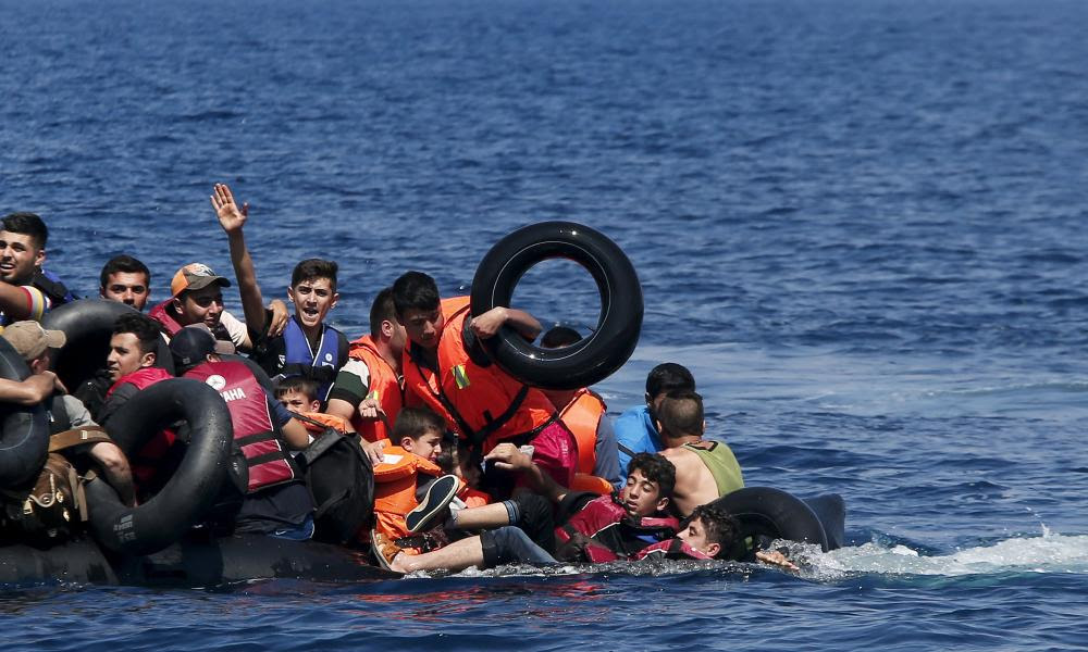 Syrian and Afghan refugees fall into the sea as their dinghy deflates near the Greek island of Lesbos. Some Syrian refugees stranded in exile may go back to their war-ravaged homeland.