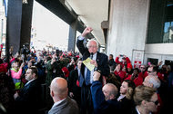 The Democratic presidential candidate Bernie Sanders joined striking Verizon workers in Brooklyn on Wednesday.