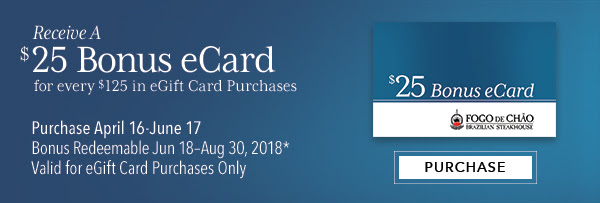 Receive a $25 Bonus eCard for every $125 in eGift Card Purchases