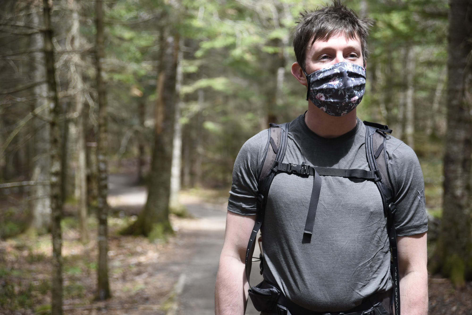 Hiker Wearing Mask