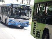 Public transport buses in Havana, Cuba. 2020.
