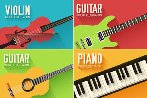 Music flat instruments illustrations