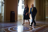 """Mitch McConnell, the Senate majority leader, in the Capitol on Tuesday. """"It's hard to explain why, despite their own calls for funding, Democrats would block plans to keep women and babies safe from Zika,"""" he said."""
