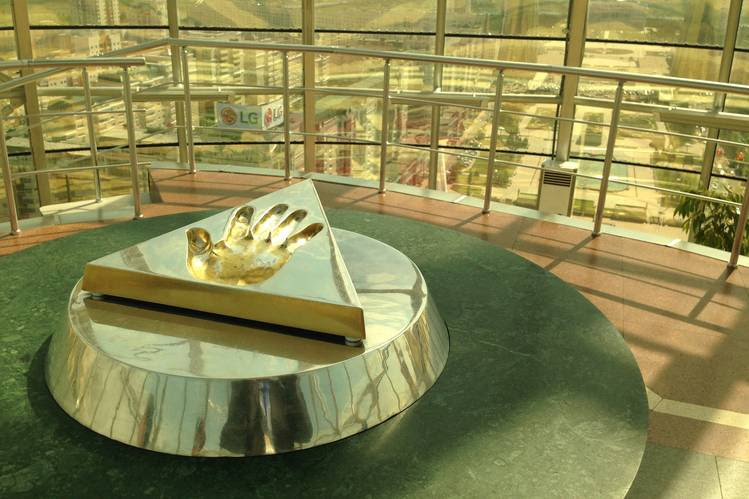 The handprint of Kazakh President Nursultan Nazarbayev on a plinth encrusted with gold and silver in the Bayterek tower in Astana, the new capital of Kazakhstan.