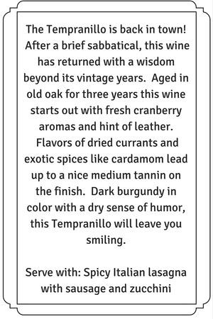 2013 Tempranillo description