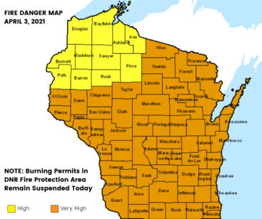 Map of fire danger across Wisconsin for April 3 including reminder that DNR-issued burning permits are suspended