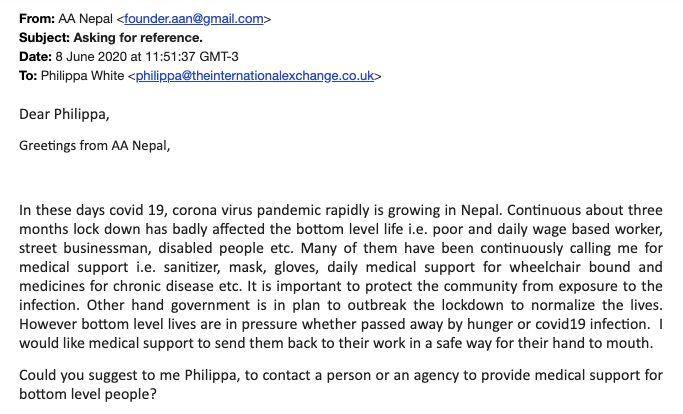 E-mail from one of TIE's NGO partners, AA Nepal, requesting help to fight Covid-19.