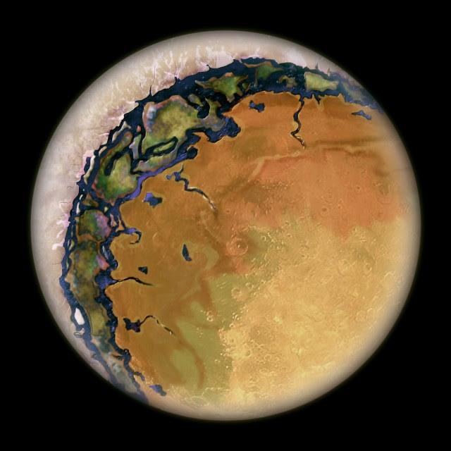 Recreación artística de una exotierra alrededor de una enana roja con acoplamiento de marea. Solo la zona del terminador tendría temperaturas suaves (NASA).