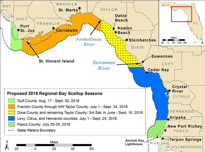 Map of 2018 Scallop Seasons