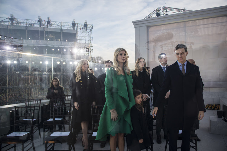 "Ivanka Trump and her husband Jared Kushner listen on stage at the Lincoln Memorial during a pre-Inaugural ""Make America Great Again! Welcome Celebration "" (Photo by Jabin Botsford/The Washington Post)"