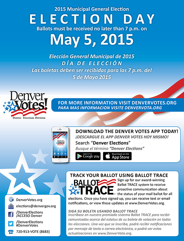 The 2015 Municipal General Election is May 5, 2015.