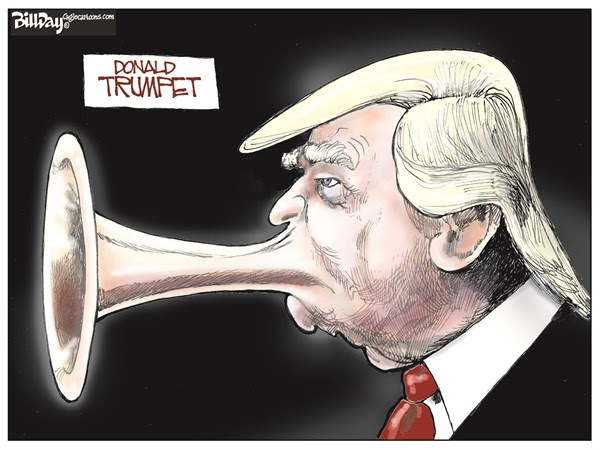 Blowing His Own Horn © Bill Day,Cagle Cartoons,Trump, GOP, debate