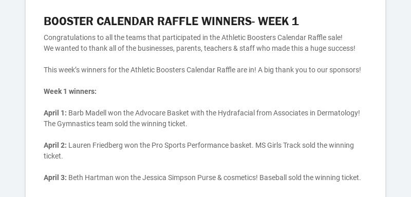 BOOSTER CALENDAR RAFFLE WINNERS- WEEK 1 Congratulations to all the teams that participated in the...