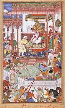 Young Abdul Rahim Khan-I-Khana being received by Akbar, Akbarnama.jpg