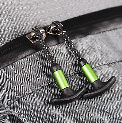 Weatherproof zippers with ergonomic T-pulls for gloved fingers