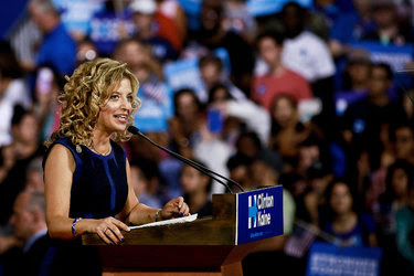 Representative Debbie Wasserman Schultz of Florida, chairman of the Democratic National Committee, at a rally for Hillary Clinton and her running mate, Senator Tim Kaine, in Miami on Saturday.