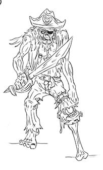 Zombie Pirate Sketch by Paul Bowers, Sept. 2013