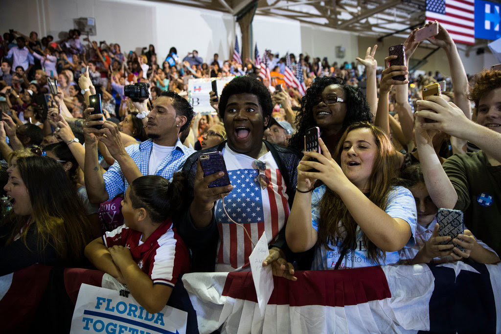 The crowd at a Hillary Clinton rally in Lake Worth, Fla., on Wednesday.