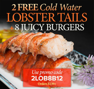 2 Lobster Tails plus 8 Steak Burgers Free with orders $139+