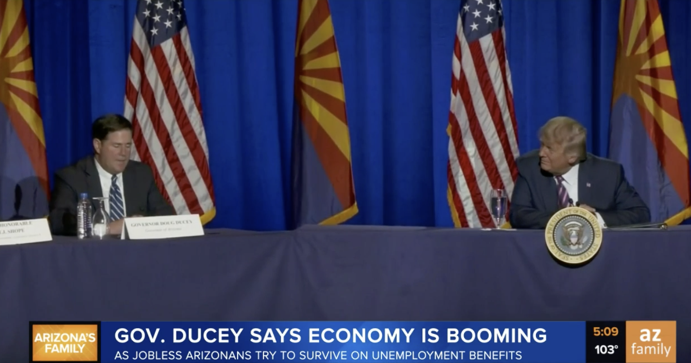 Gov. Ducey says economy is booming as jobless Arizonans try to survive on unemployment benefits.
