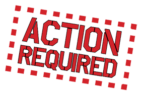 Action Required sign