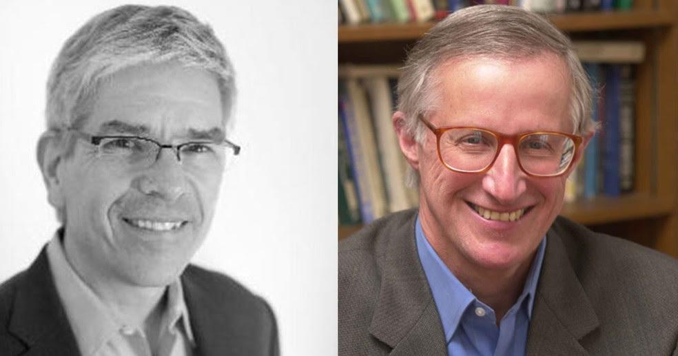 Paul M. Romer e William D. Nordhaus foram reconhecidos por seu trabalho com crescimento sustentável a longo prazo na economia global e o bem-estar da população mundial — Foto: Divulgação