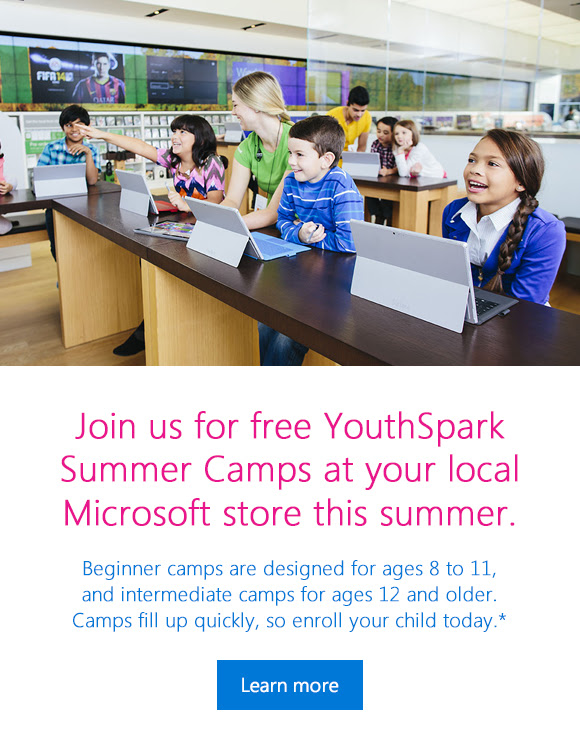 Join us for free YouthSpark Summer Camps at your local Microsoft store this summer. Learn more
