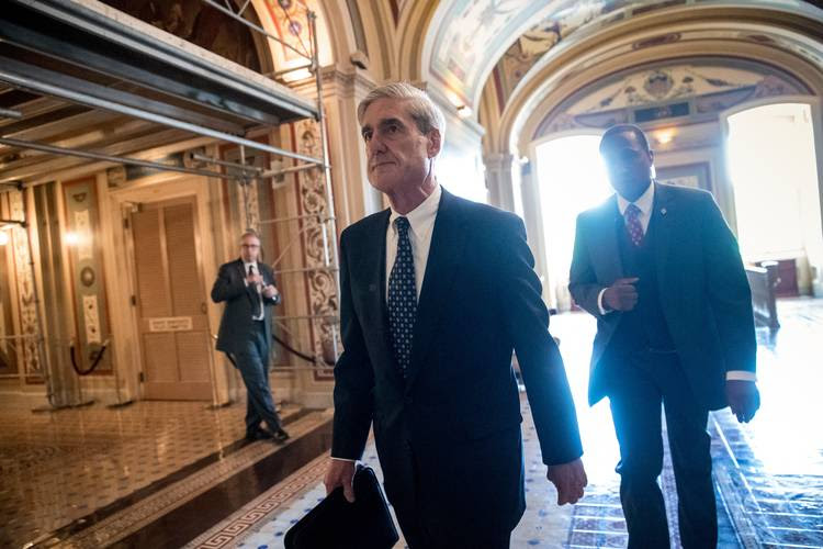 Robert Mueller departs after a closed door meeting with members of the Senate Judiciary Committee. (J. Scott Applewhite/AP)