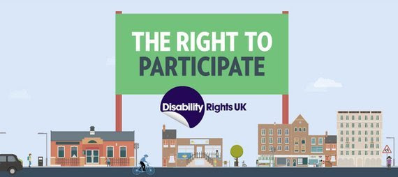 Graphic of a street with houses on it and then a flag stating 'Right to Particpate' with DR UK's logo below