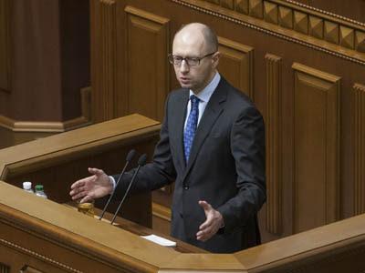 El primer ministro de Ucrania, Arseny Yatseniuk, en una intervención en el Parlamento.